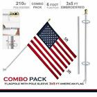 G128 - 6 Feet Tangle Free Spinning Flagpole (White/Silver) American Flag Pole