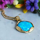 14K Solid Yellow Gold Round 12mm Blue Opal Pendant - Back To School Sale