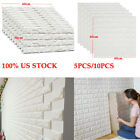 5pcs/10pcs 3d Pe Foam Brick Stone Wall Stickers Diy Wallpaper White Panel Decr