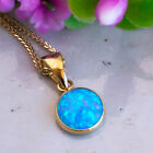Classic Blue Opal Pendant 14K Solid Yellow Gold Necklace Handmade Gift For Women