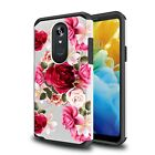 For LG Stylo 5 / LG Stylo 4 Case Red Floral Shockproof Cover + Tempered Glass