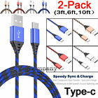 2x Long Cable Braided Type C Fast Charging Cable USB-C Rapid Cord Power Charger