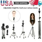 Adjustable White Wig Head Stand Mannequin Tripod Hairdressing Training Holder