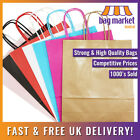 25 x Strong Medium Twisted Handle Paper Bags | Brown/White/Black/Red/Pink/Blue