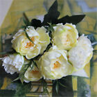 US New Artificial Peony Silk Flowers Leaf Bouquet Home Floral Wedding Decor