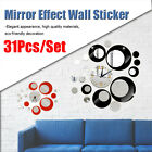 Creative Wall Clock Sticker Watch Mirror Effect Design Acrylic Room Home
