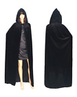 Women Men Adult Long Cloak W/ Hood Velvet Witch Cape Cosplay Party Costumes