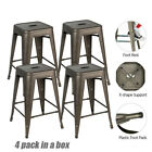 24'' Set of 4 Metal Counter Bar Stools Dining Chair Bar Stackable Stools Vintage