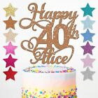 Happy Birthday Glitter Cake Topper Personalised Any Name Age 18th 21st 30th 40th