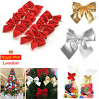 Christmas Xmas Tree Red Bows Velvet Decorations Ornaments Gold Baubles Gift Wrap