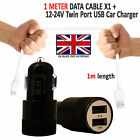 Car Fast Double Charger Plus Micro USB Power Cable For Wiko Sunny 3 Plus