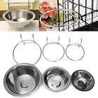 Stainless Steel Hanging Bowl Feeding Bowl Pet Bird Dog Food Water Cage Cup qi