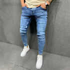 Men Ripped Jeans Frayed Pencil Pants Denim Trousers Stretch Distressed Biker US