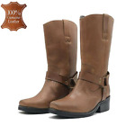 Womens Black Leather Biker Boots Ladies Cowboy Wide Calf Chunky Sole Ankle Sizes