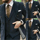 Corduroy Men's 3 Piece Suits Formal Office Tailored Fit Jacket Waistcoat Pants
