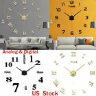 DIY Large Frameless Wall Clock Surface Sticker Art 3D Mirror Home Office Decor
