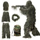 5 Piece Tactical Hunting Ghillie Suit Camo Woodland Camouflage Costume 3D Suits