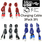 3Pk 3Ft Micro USB Cable Charger Fast Phone Charging Cord For Samsung Android LG