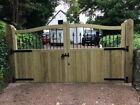 Wooden Driveway Entrance Gate - PAIR of Hartlands (with bars and finials)