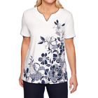 Alfred Dunner In The Navy Split Crew Neck Short Sleeve Size S, M, XL New $54