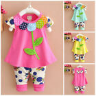 2pcs baby kids girls clothes summer cotton outfits top short pants Sunflower