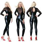 Zipper Lace Mesh Faux Leather Bodysuit Wet Look Catsuit Jumpsuits Romper SH157