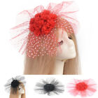 Women Lace Bead Flower Hat Handmade Fascinator Hair Clip Party Xmas Accessories