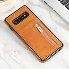 Leather Wallet Credit Card Slots Zipper Case Cover For Samsung Note 10 S7 S8 S9