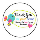 "30 1.5"" THANK YOU BIRD HEART FAVOR LABELS ROUND STICKERS"