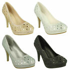LADIES ANNE MICHELLE SLIP ON WEDDING PARTY HIGH HEEL DIAMANTE COURT SHOES F9R804