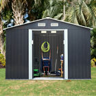 2 Size Outdoor Garden Storage Shed Backyard Lawn Toolshed House Sliding Door