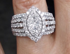 DEAL! 2.00 CTW Natural Cluster Round Diamond Marquise shape ring 14K Gold
