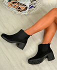 LADIES WOMENS CHELSEA ANKLE BOOTS CHUNKY HEEL GRIP WINTER SHOES SIZE UK