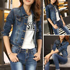 Fashion New Vintage Long Sleeve Jean Coat Womens Slim Denim Short Casual Jacket