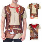 Men Western Cowboy Costume T-Shirt Adult Halloween Carnival Party 3D Shirt