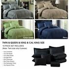 10 Piece Bedding Comforter Sets W/ Shams Luxury Solid Color Embroidered Pattern image