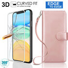 Rose Gold Leather Case With Wrist Strap For iPhone 11 Pro Max XS Max XR X 7+ 8+