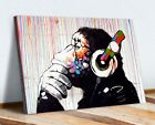 BANKSY THINKING DJ MONKEY CANVAS WALL ART PICTURE PRINT ARTWORK GORILLA