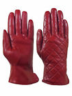 Giromy Samoni Womens Warm Winter Leather Quilted Dress Driving Gloves Red