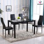 5/7 PCS Dining Table Set w/ Chairs Glass Metal Kitchen Room Breakfast Furniture