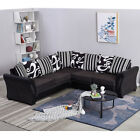 L-Shaped Leather&Fabric Coner Sofa Armchair Chair Couch Settee Living Room Home