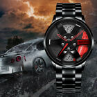 Men Rim Hub Watch Sports Car Wheel Design Stainless Steel Waterproof Wristwatch image