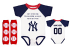 New York Yankees Personalized Baseball Outfit Bodysuit Jersey Set Daddy