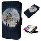 Funny Star Wars Moon - Flip Phone Case Wallet Cover - Fits Iphones & Samsung