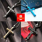 New Stainless Steel Cross Bamboo Joint Necklace Crystal Pendant Chain Uk Seller