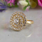 14K Solid Gold Round Wedding Ring White Cubic Zirconia Handmade Gift For Bride