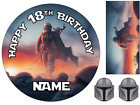 """MANDALORIAN STAR WARS INSPIRED 6"""" TO A3 PERSONALISED CAKE EDIBLE ICING TOPPER"""