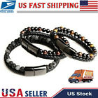 Men Jewelry Natural Stone Leather Magnetic Clasp Black Tiger Eye Bead Bracelet image