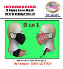 REVERSIBLE New Bandanna Face Mask 100 COTTON Handmade, Washable, Reusable