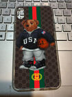 Case Polo Bear Guccy878 For Iphone 7 8 11 X XR XS Transparent Clear case